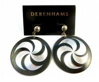 Silver And Black Spiral Earrings By Debenhams.